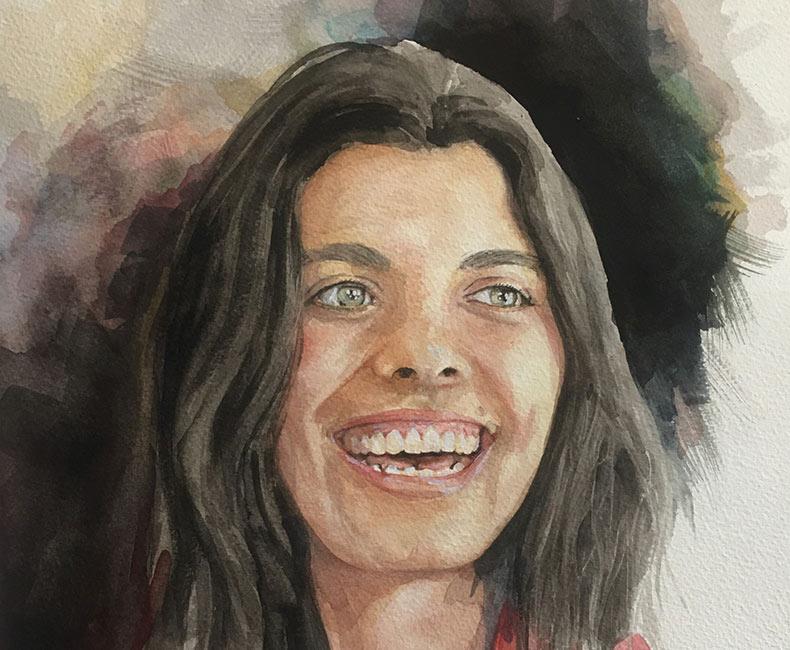 Watercolour portrait of Becky