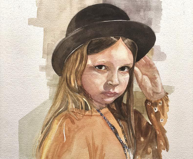 Watercolour portrait of Lila