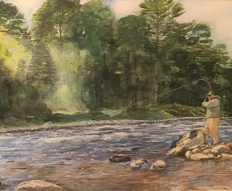 Watercolour of Fraser fishing the Dee river