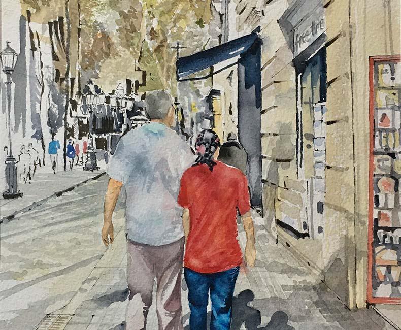 Watercolour of 2 people walking along a high-street