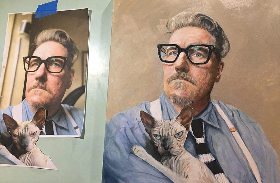 Laughton and Reginald the cat