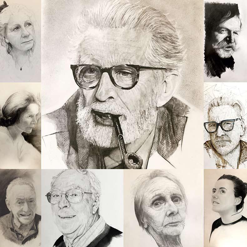 Pencil portraits by Jon Elworthy