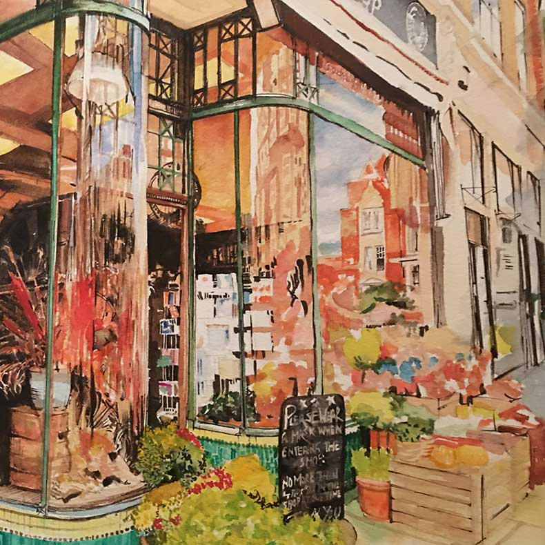 Watercolour of and Eastbourne shopfront