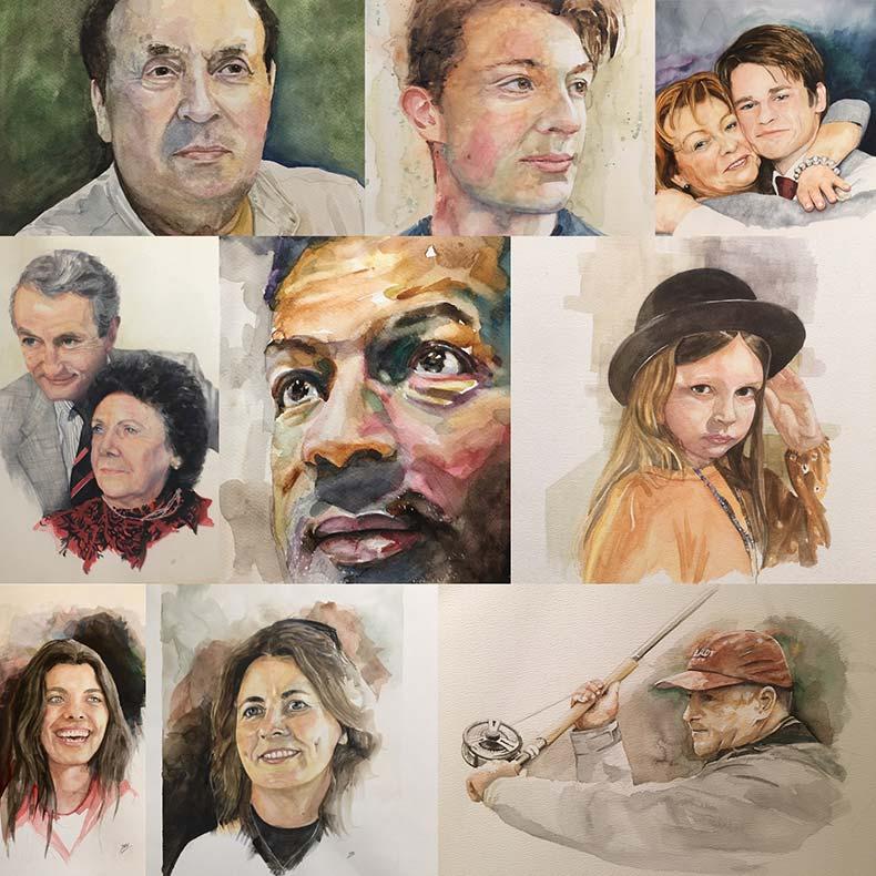 Watercolour portraits by Jon Elworthy