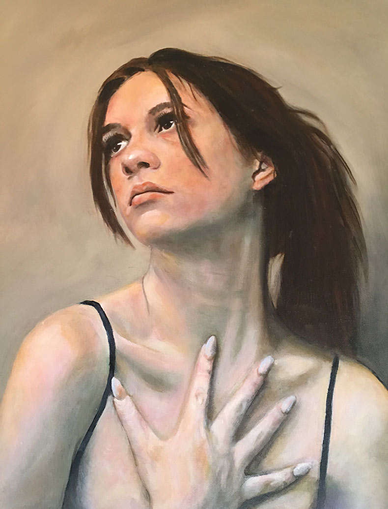 Young girl in oils